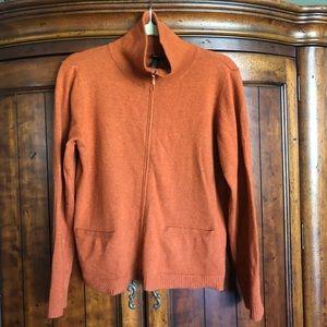 Eileen Fisher Merino Wool Rust Soft Zip Up Jacket